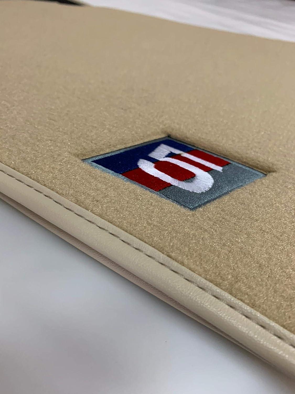 Anclajes Originales E60 E61 Sedan Touring Borde Piel A Medida espec/ífica Accesorionline Alfombrillas Velour Premium Beige para BMW Serie 5 2003-2010