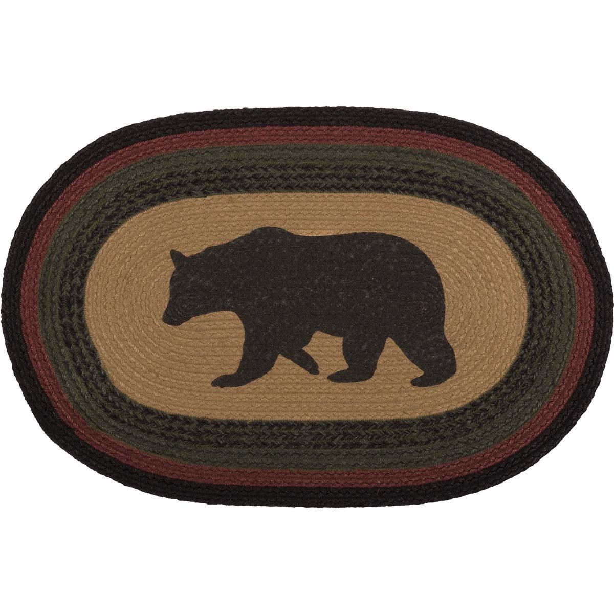 VHC Brands 38074 Rustic & Lodge Flooring-Wyatt Tan Bear Oval Jute Rug, 20 x 30