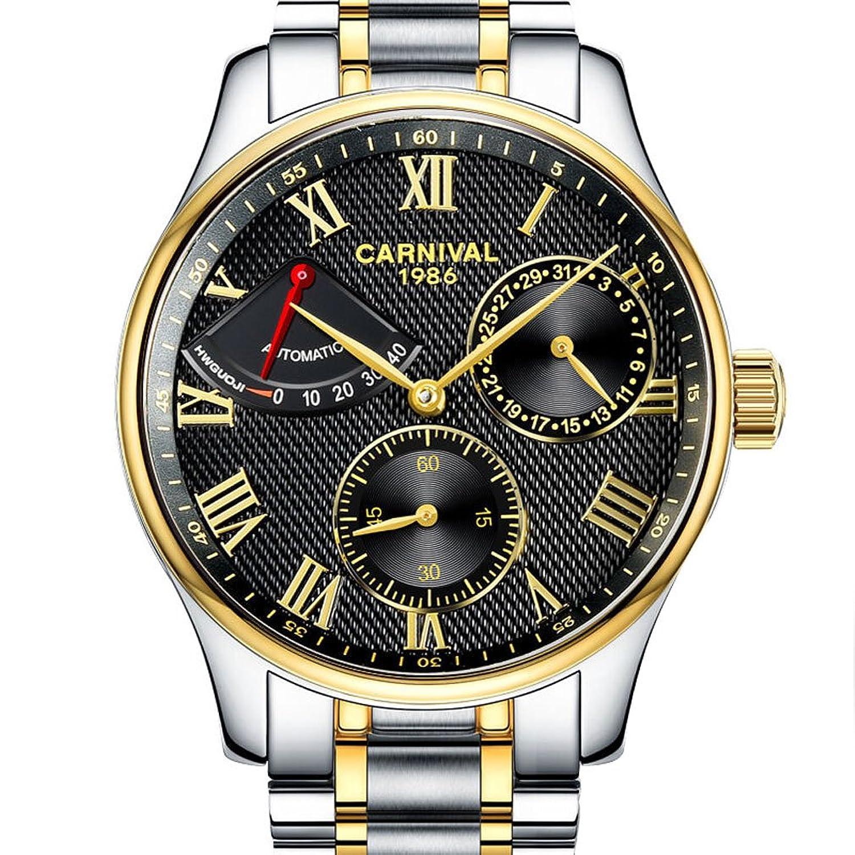 jianianhua Herren Business Multifunktions Edelstahl Armband Automatische self-wind Mechanische Uhr Armbanduhr – Gold