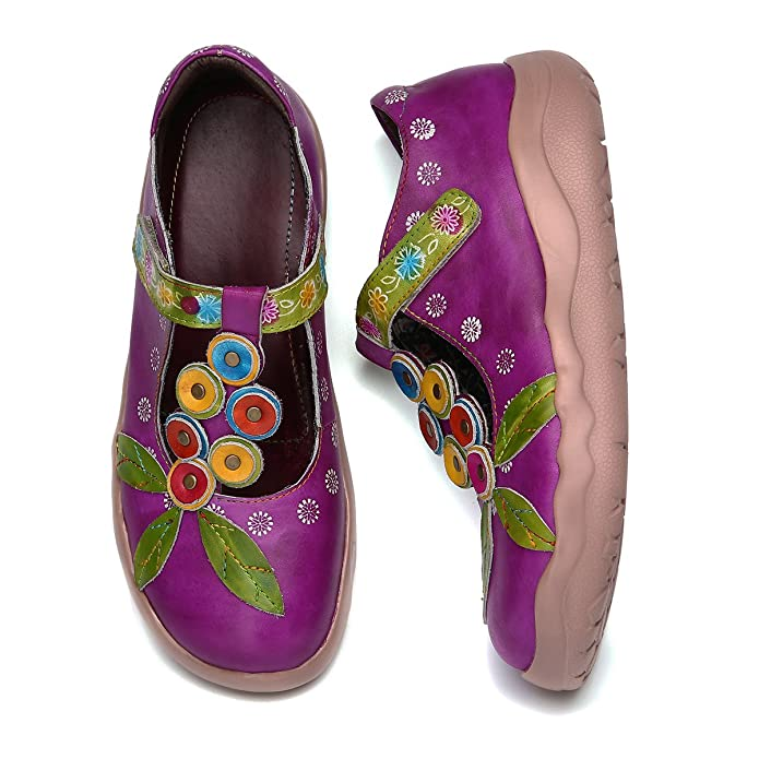 Amazon.com | gracosy Leather Slippers, Womens Vintage Handmade Printing Splicing Plant Pattern Slip-On Casual Shoes | Slippers