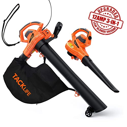 TACKLIFE Leaf Blower Vacuum Mulcher, 12 Amp, Max.175 MPH Air Speed and 388 CFM Suction Volume,15 1 Mulching Ratio, 45L Collection Bag