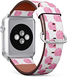 [ Compatible with Small Apple Watch 38mm / 40 mm ] Replacement Leather Band Bracelet Strap Wristband Accessory and Adapters // Pig Piggy Bank