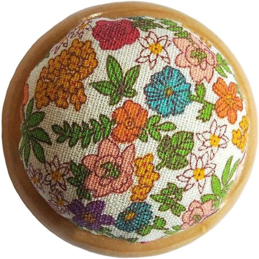 Blue 1 GAMESPFF Round Pin Cushion with Wooden Base and Printed Floral Fabric Coated for Daily Needlework