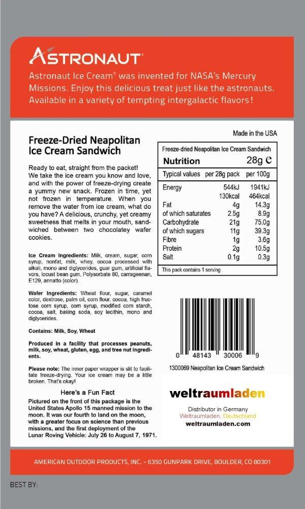 Astronaut Ice Cream 5 Packs Neapolitan Space Food NASA Freeze