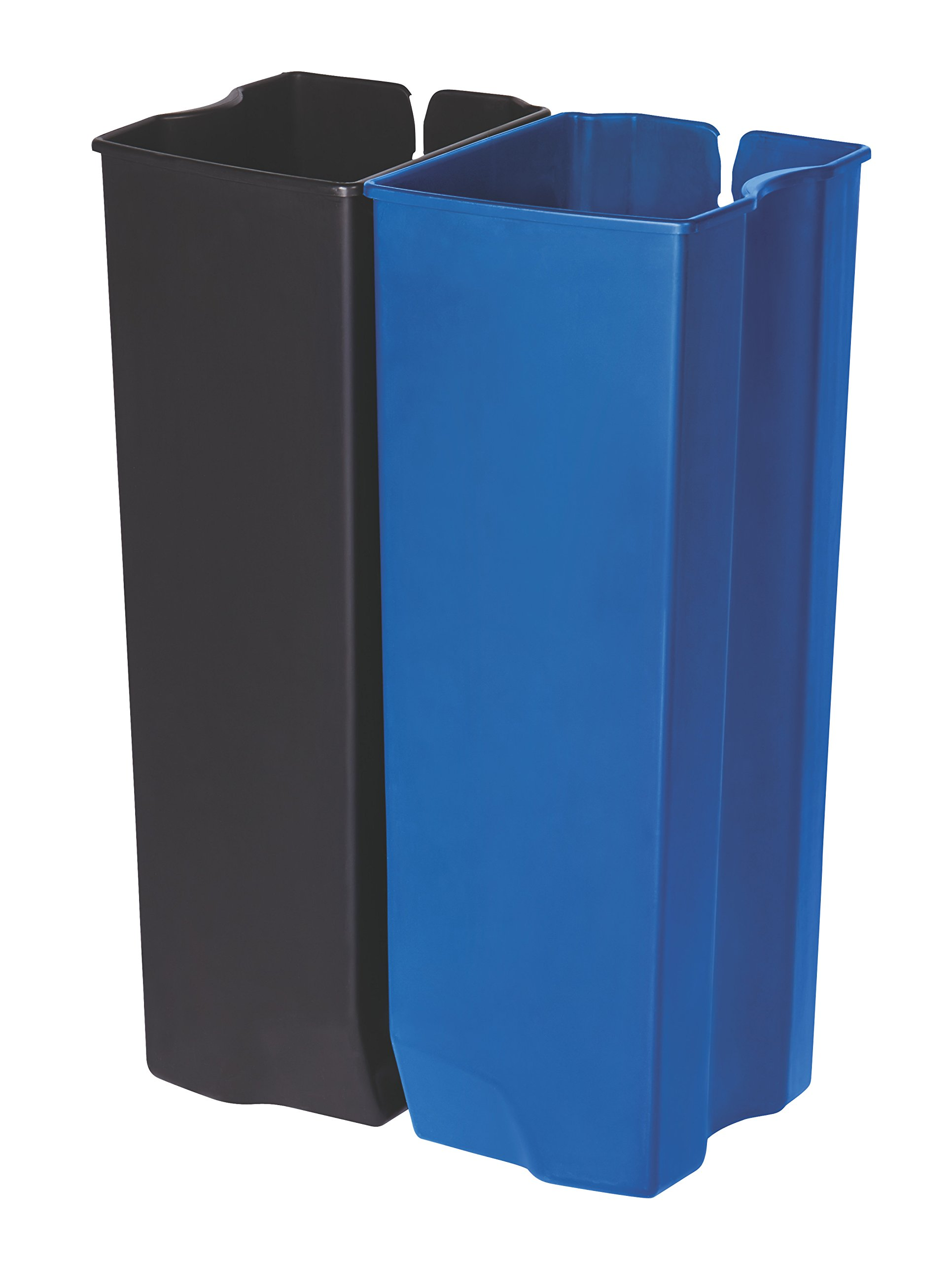 Rubbermaid Commercial Slim Jim End Step-On Trash Dual Rigid Liner Set, Plastic, 13 Gallon, Black/Blue by Rubbermaid Commercial Products