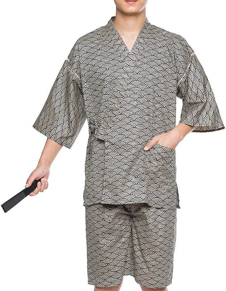 Traje de Pijama de Kimono de Estilo japonés de Jinbei para Hombre, Talla XL-A01