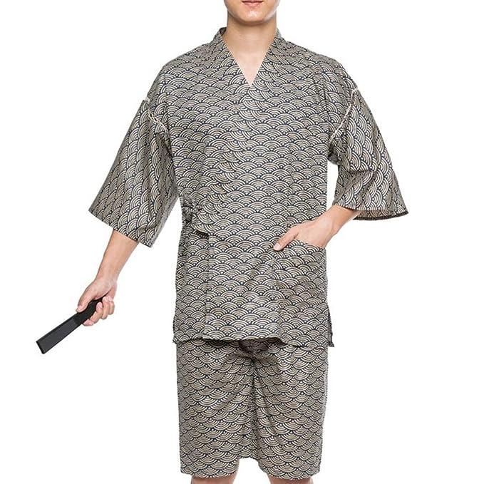 Traje de Pijama de Kimono de Estilo japonés de Jinbei para Hombre ...