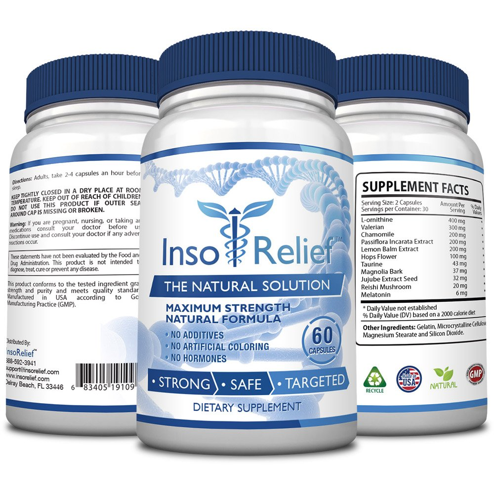 InsoRelief - The #1 Choice for Combating Insomnia - 100% Natural and Non-Habit Forming - With Valerian, Hops, Melatonin, L-ornithine - Improves Sleep Quality - 100% Money Back - 6 Bottles Supply by InsoRelief (Image #1)