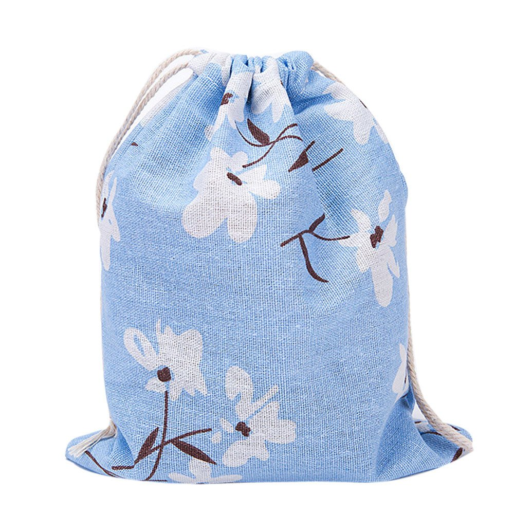 Fashion Printing Bags Drawstring Backpack 3 Sizes,Outsta Unisex Backpacks Drawstring Pouch Packaging Bags Storage Bag (24×19cm(Middle), Blue)