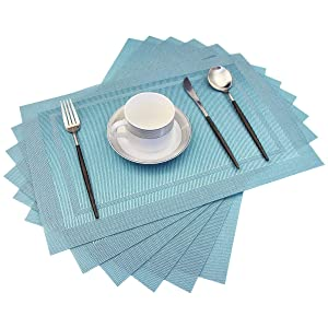 pigchcy Placemats,Heat Insulation Non Slip Plastic Placemats,Washable Easy to Clean Woven Vinyl Kitchen Stain Resistant Placemats for Dining Table Set of 6 (Sky Blue)
