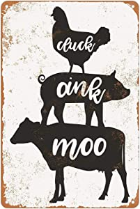 KENSILO Metal Tin Signs Vintage Cluck Oink Moo Chicken Pig Cow Farmhouse Home Kitchen Restaurant Wall Decor 8 x 12 inches