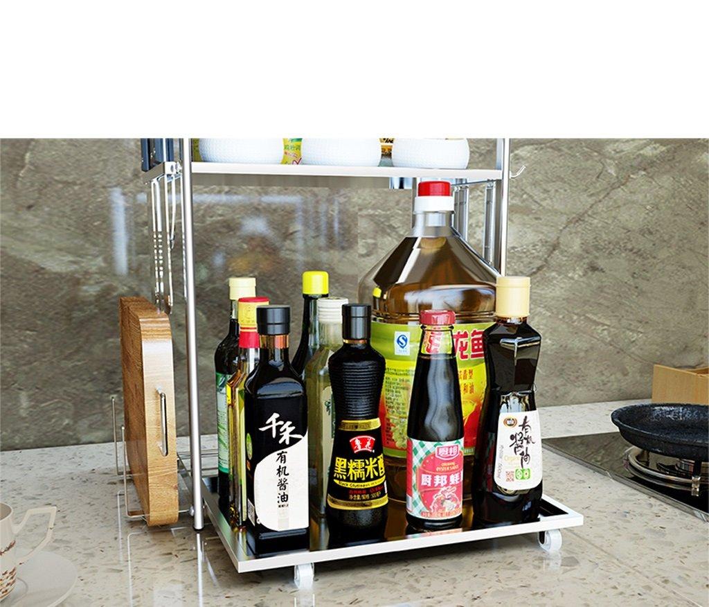 Hyun times 304 Stainless Steel Kitchen Seasoning Rack Spice Rack Holder Shelves Shelves Containing Double-shelf Multi-purpose Shelves