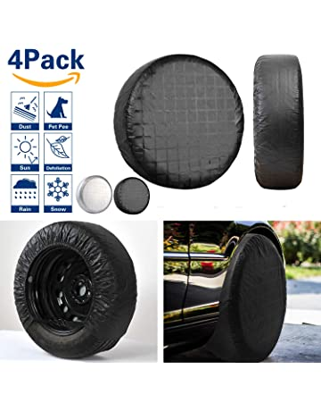 VIEFIN Set of 4 Wheel Tire Covers, Waterproof UV Sun RV Trailer Tire Protectors,