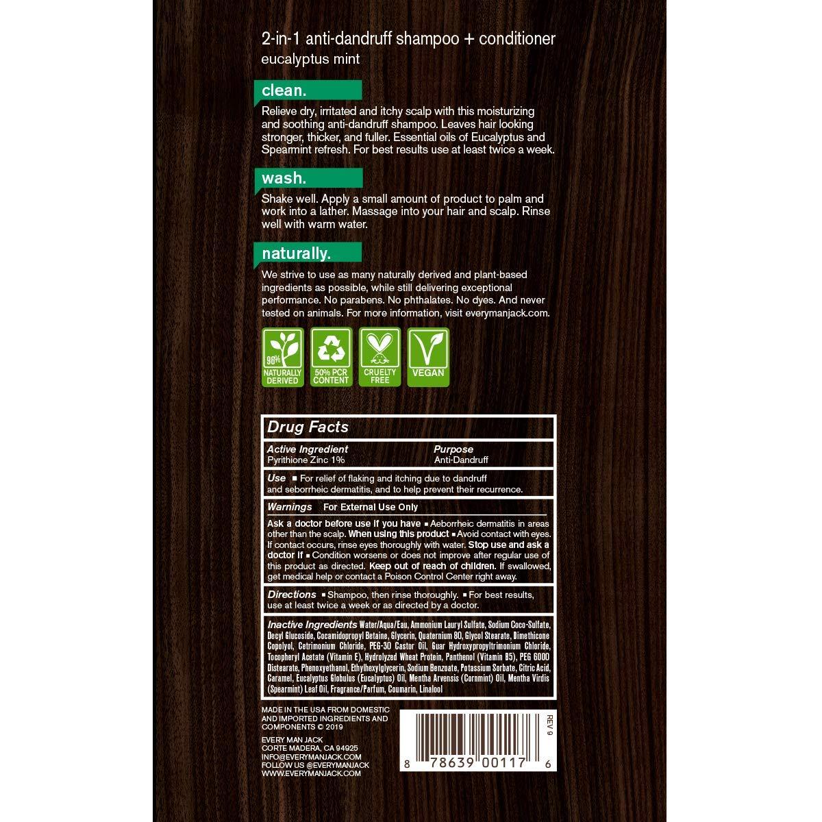 Amazon.com: Every Man jack 2-in-1 AntiDandruff Shampoo + Conditioner, Eucalyptus Mint, 13.5-ounce: Beauty