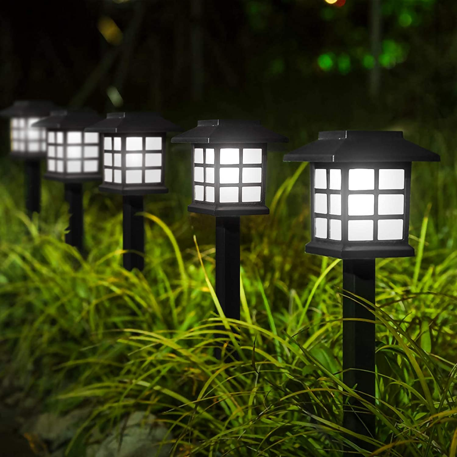 "YUNLIGHTS Upgraded Solar Stake Lights 8PCS, Garden Solar Lights Outdoor Pathway Lights Waterproof, 15""x3.35"" Solar Landscape Lights for Garden Path, Walkway, Lawn (White)"