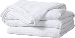 Bed Bath & Home 100% Cotton Waffle Weave Thermal Blankets – Soft Comfortable Breathable – Perfect for Bed Couch Sofa – Queen Size (90 x 90 Inches), White