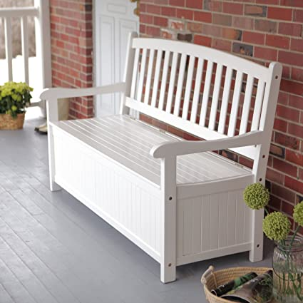 Comfortable Curved Back Outdoor Wood Storage Bench In Bright White For  Porch Or Patio With A