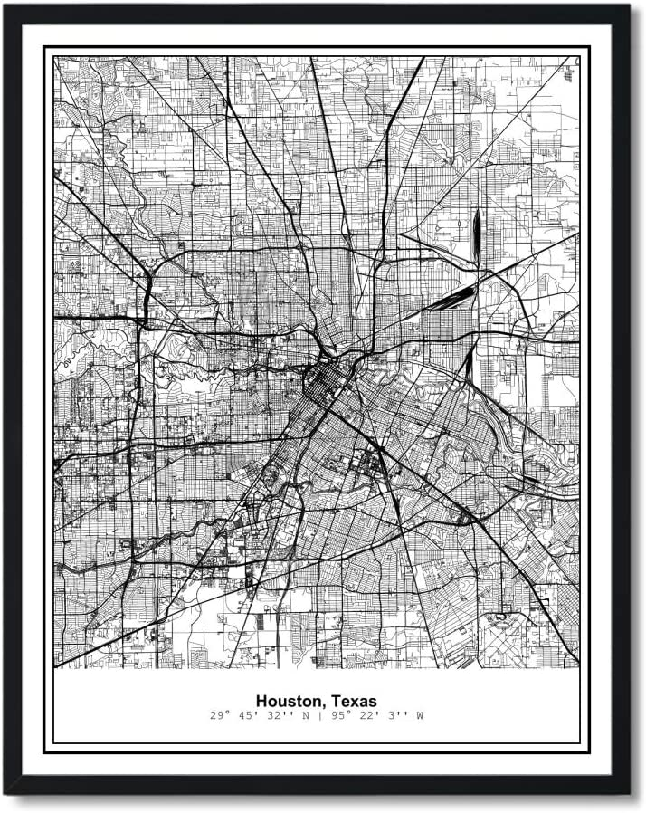 Susie Arts 11X14 Unframed Houston Texas Metropolitan City View Abstract Street Map Art Print Poster Wall Decor V263