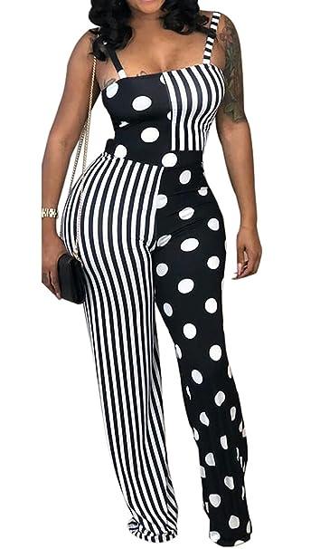 52e25193cc10 Shinfy Women s Polka Dots Stripe Jumpsuit Blackless Spaghetti Strap Long  Pants Sets Romper S-XXL