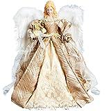 Grandi champagne oro Puntale per albero di Natale, a forma di angelo con ali di piume bianco (40)