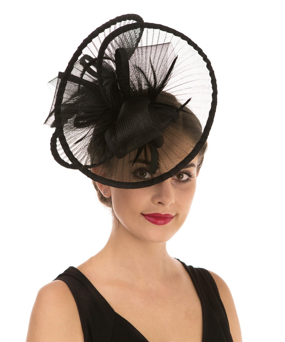 Lucky Leaf Women Girl Fascinators Hair Clip Hairpin Hat Feather Cocktail Wedding Tea Party Hat (2-Black)