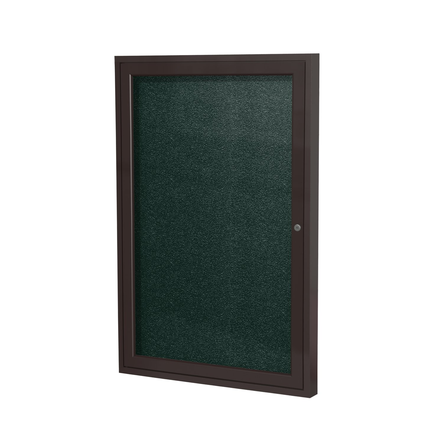 Ghent 36''x36''  1-Door Outdoor Enclosed Vinyl Bulletin Board, Shatter Resistant, with Lock, Bronze Aluminum Frame - Ebony (PB13636VX-183), Made in the USA