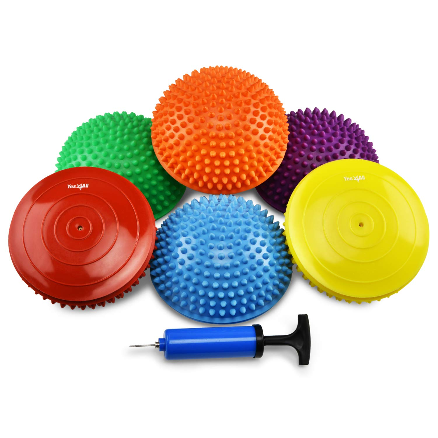 Yes4All Set of 6 Balance pods with 3 New Shapes – Hedgehog, Rocky, Geometric Stability pods, Improve core Strength, Body Awareness, Coordination