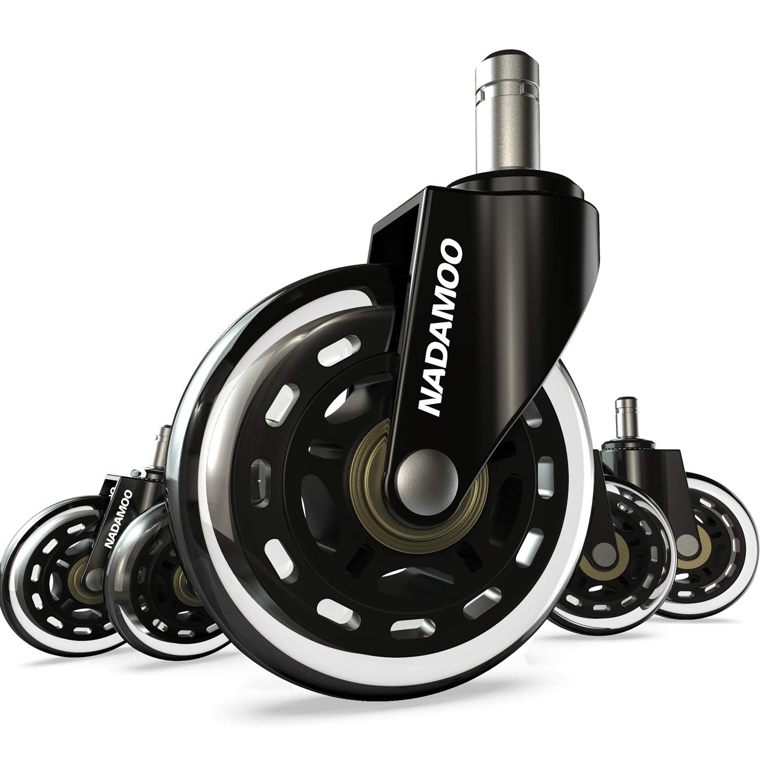 NADAMOO Office Chair Caster Wheels Replacement (Set of 5), Roller Blade Style with 11mm Standard Stem Size, Heavy Duty Smooth & Silent Desk Chair Casters