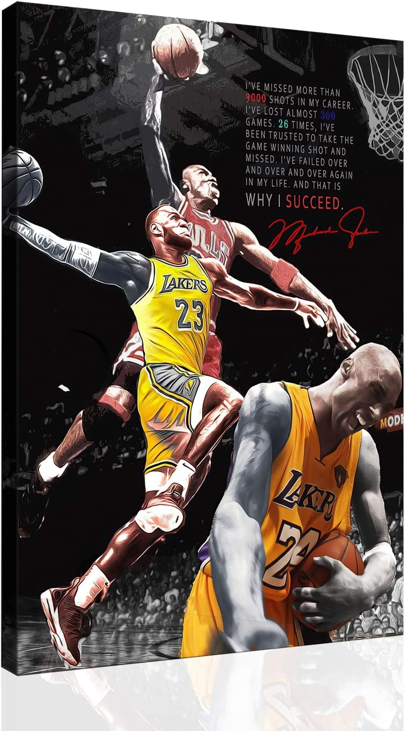 Amazon Com Basketball Kobe Bryant And Lebron James And Mj Dunk Canvas Wall Art Home Decor Lager Size Poster Painting 08x10inch No Framed Posters Prints