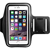 "Insten Outdoor Sports Running Armband With Key Holder For Apple iPhone X/8 Plus 7 Plus/6S Plus Samsung Galaxy Note 5/4, LG G5/ G4 (Up to 6.49"" x 3.74"")-Adjustable Strap Fits 8.5"" to 15.5"" Arm, Black"
