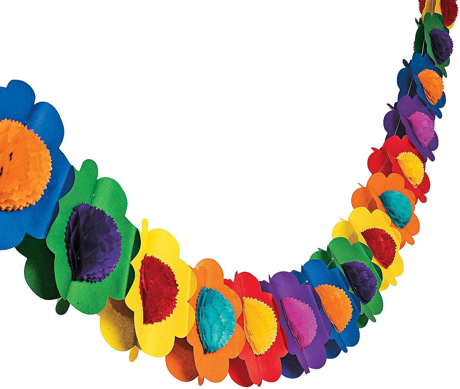 Fun Express - Multicolor Tissue Flower Garland for Party - Party Decor - Hanging Decor - Garland - Party - 1 Piece