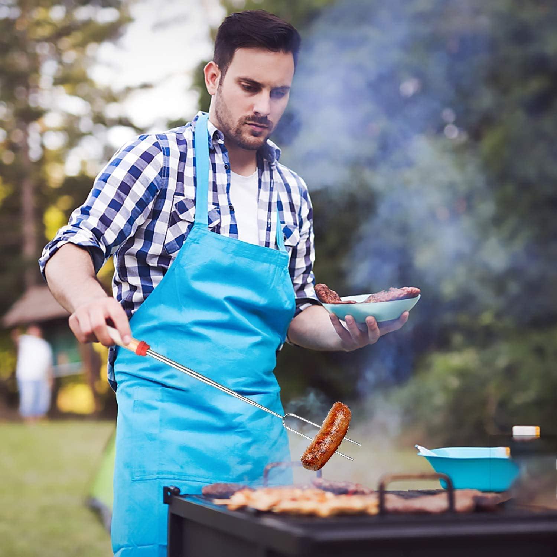 iCOMO Marshmallow Roasting Sticks,8Pcs Hotdog Forks Set BBQ Forks Wooden Handle Extendable Telescoping 2Pcs Stainless Steel Corn Holders Corn BBQ Tools