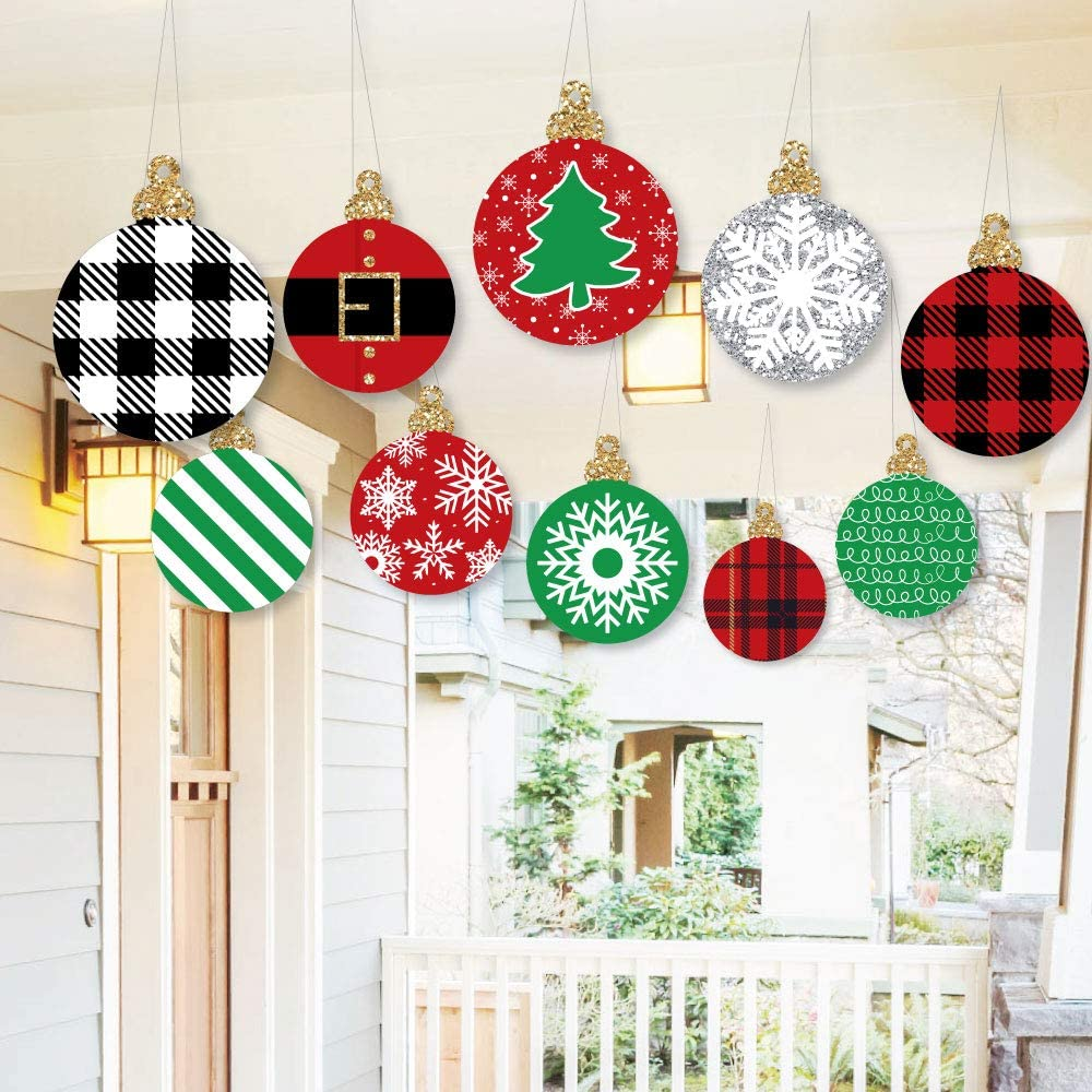 Big Dot of Happiness Hanging Black Red and Green Ornaments Outdoor Holiday or Christmas Hanging Porch and Tree Yard Decorations 10 Pieces