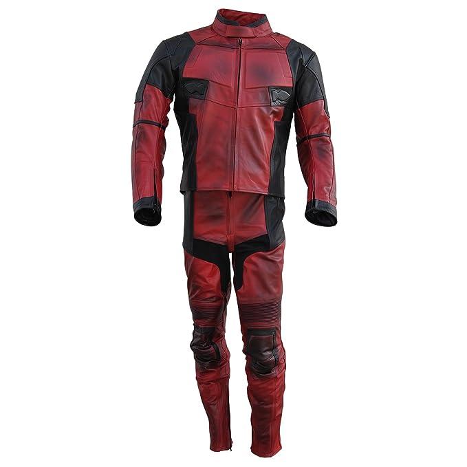 piel Classyak Hombre Traje Moto Alta De Calidad Deadpool Para Auténtica OHrOYx