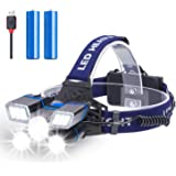 Rechargeable Headlamp, Fastras 13000 Lumen 21 LED Headlamp Flashlight with White Red Strobe Lights, 9 Modes USB Rechargeable Waterproof Head Lamp for Outdoor Camping Cycling Running Fishing
