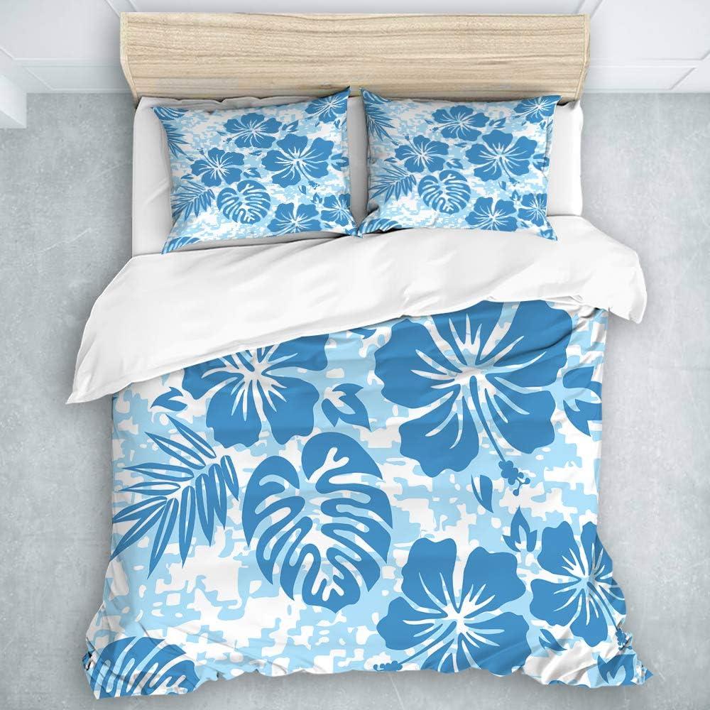 MIFSOIAVV 3-Piece Duvet Cover,Hibiscus Aloha Hawaiian Pattern Hawaii Floral Surf Flower Tropical Camo Tiki Flower,Modern Soft Bedding Set (Queen Size)
