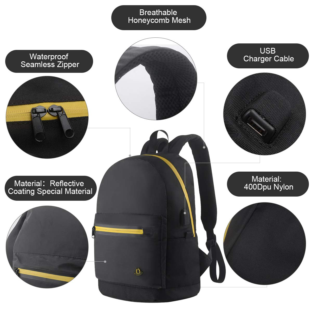 Business Laptop Reflective Backpack,Travel Anti Theft Computer Backpack with USB Charging Port, Waterproof Night Light Reflective College School Bag for Women Men (Black)