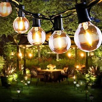 Guirlande Guinguette Solaire, FOCHEA 7.6M Guirlande Lumineuse Extérieur avec 25 Ampoules LED 4 Modes Éclairage, Étanche IP44, Solaire/USB Charge pour Décoration Balcons, Parasol, Jardin, Terrasse