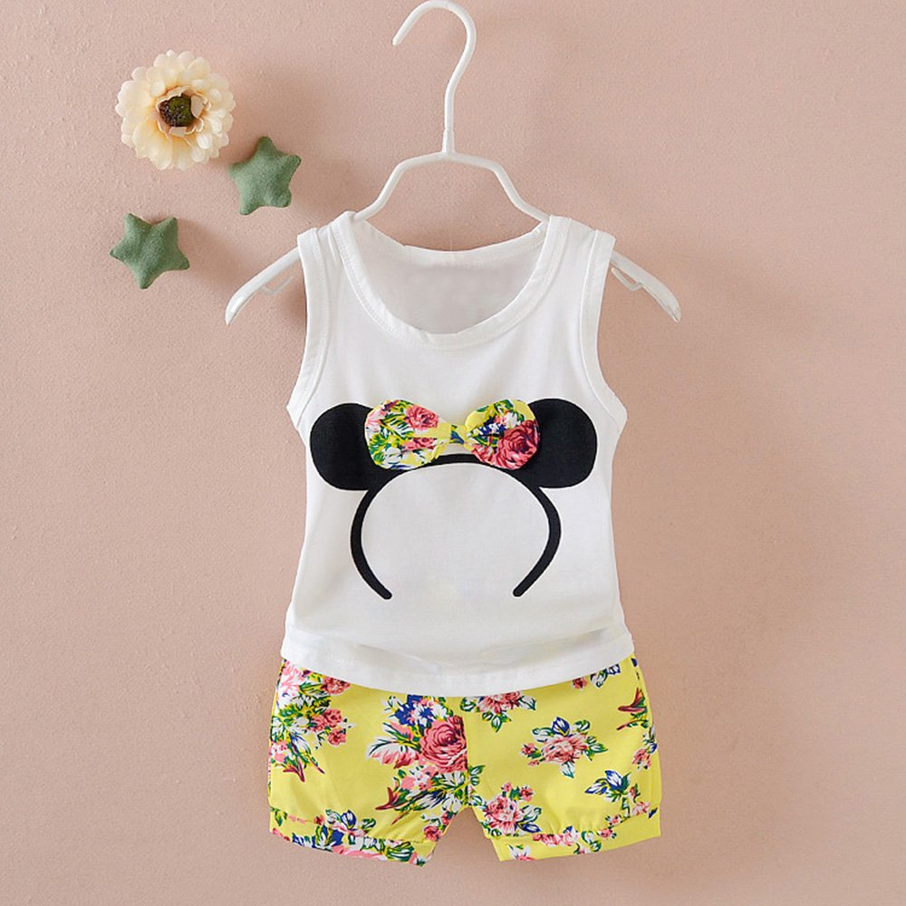 Baby Girl Clothes Outfits Short Sets 2 Pieces with T-Shirt + Short Pants (Yellow, 18-24 Months) by MH-Lucky (Image #2)