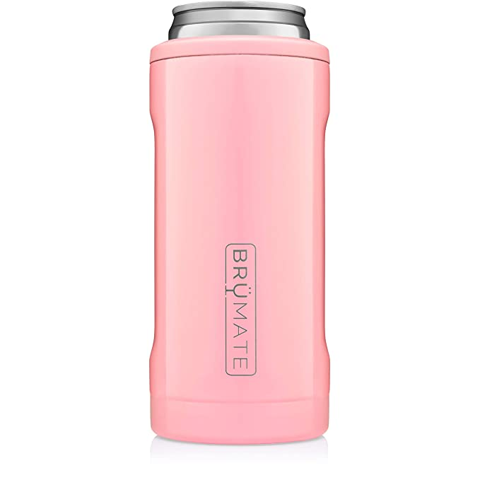 BrüMate Hopsulator Slim Double-walled Stainless Steel Insulated Can Cooler for 12 Oz Slim Cans (Blush)