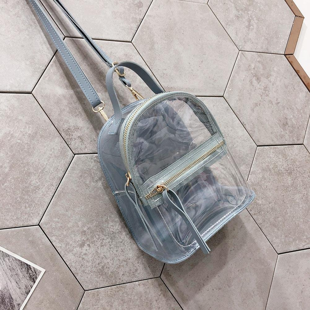 Diamondo Preppy Women Girls Clear PVC Shoulder School Handbags Mini Casual Backpacks