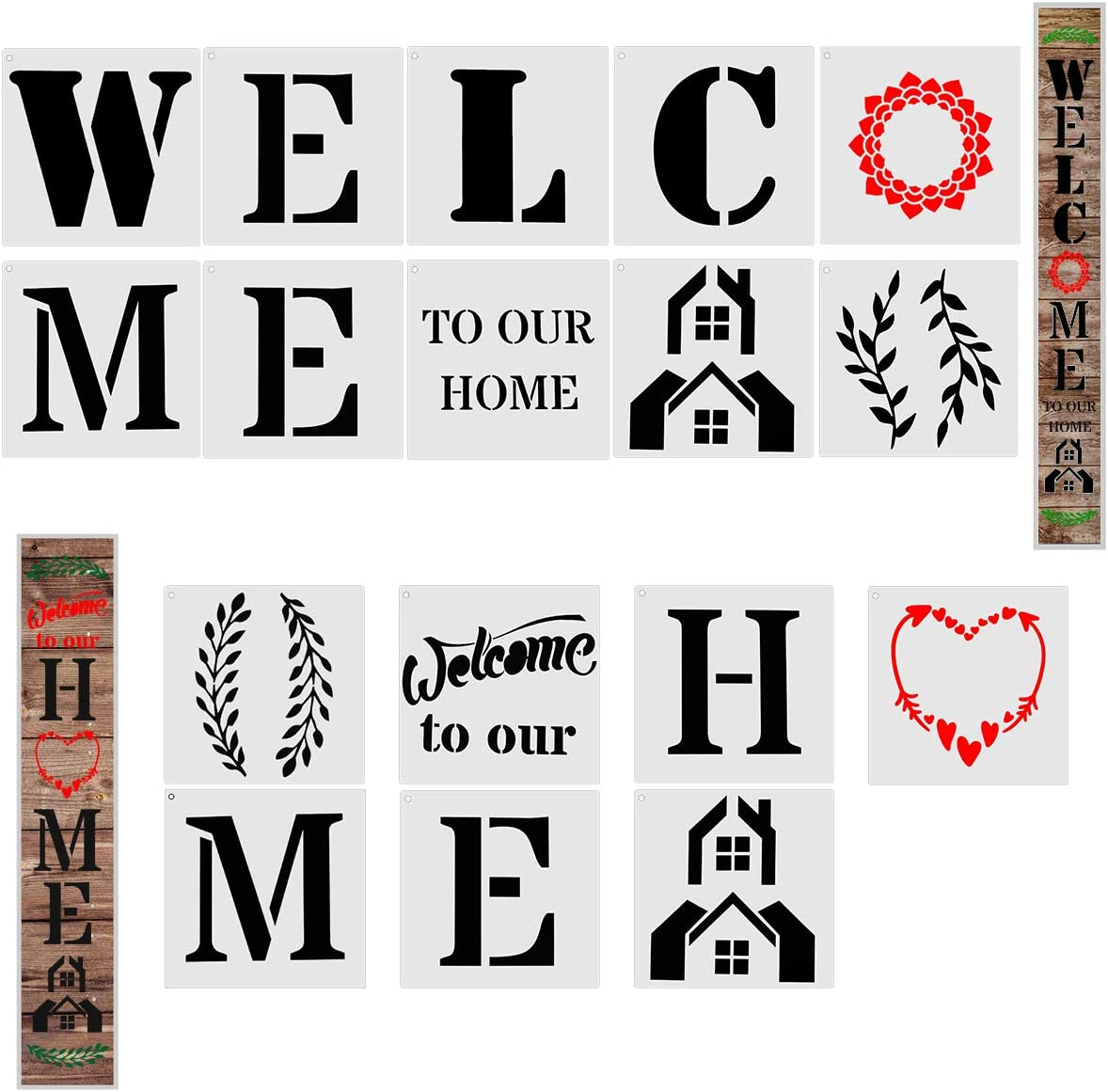 Fireboomoon 17 PCS Reusable Large Welcome and Home Sign Stencils Set,Vertical Individual Word Letter Sign Stencils Templates for DIY Welcome Sign for Front Door Decoration,Rustic Home Porch DIY Decor