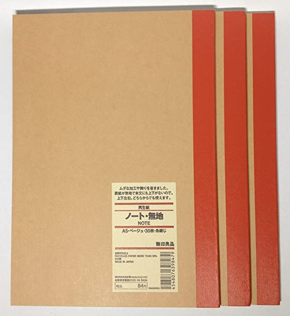 MUJI en blanco cuaderno A5 unruled 30sheets – Pack de 3books ...