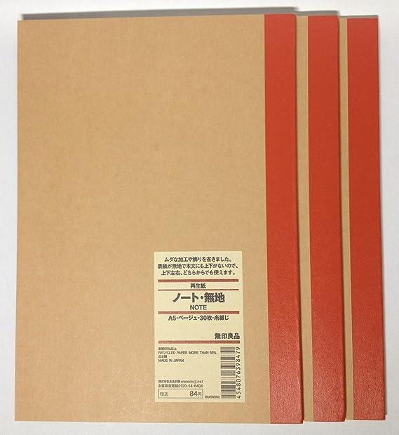 MUJI en blanco cuaderno A5 unruled 30sheets – Pack de 3books ...