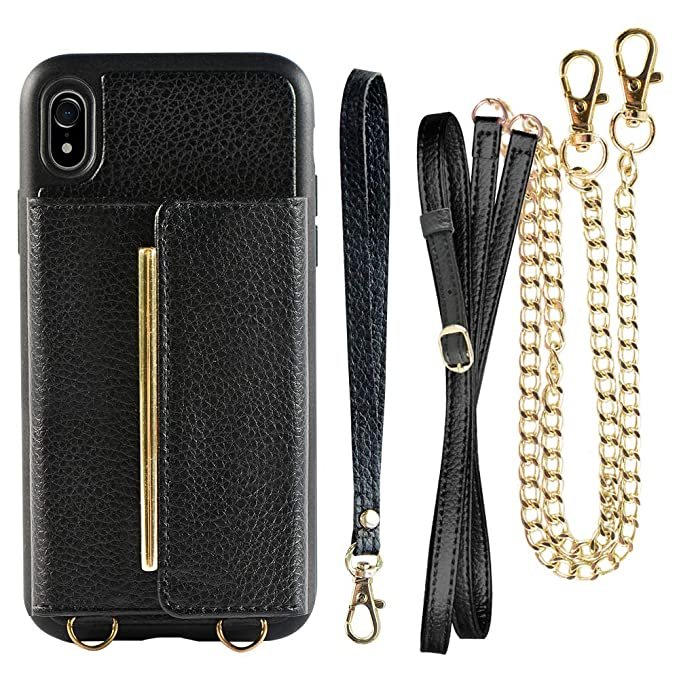sports shoes b765b f7c58 Wallet Case for iPhone XR Card Holder Case with Crossbody Strap, ZVEdeng  Shockproof Wallet Case with Chain, Mini Crossbody Bag for iPhone XR - Black