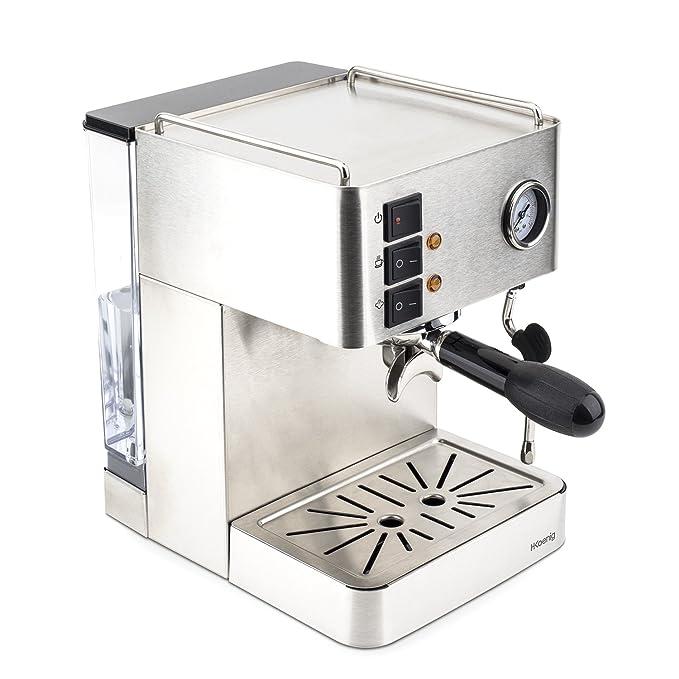 H.Koenig EXP530 Cafetera Expresso, 1450 W, 1.7 litros, Acero Inoxidable, Gris: Amazon.es: Hogar