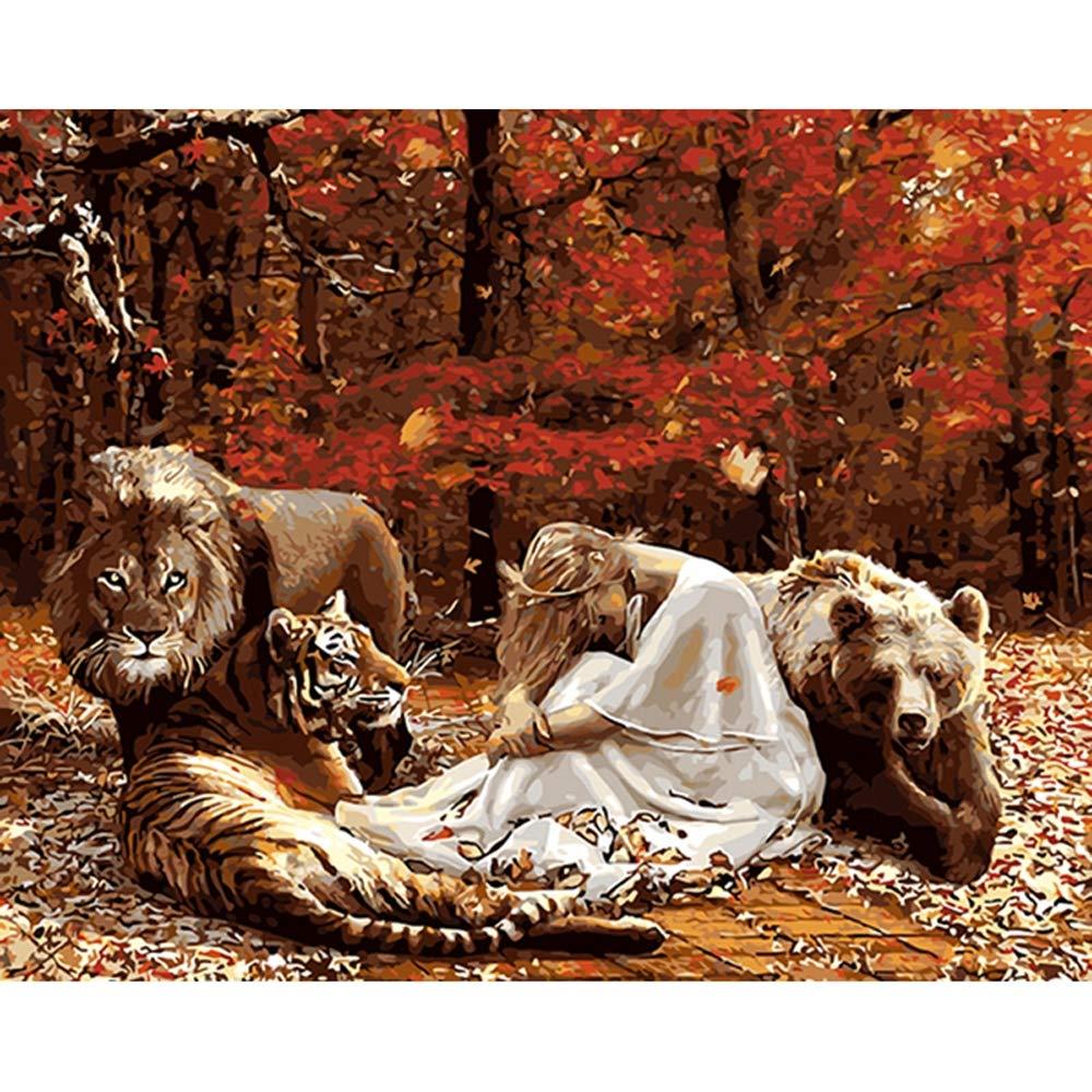 Chica y Animales Pintura de Bricolaje by números Paisaje Pintado a Mano Pintura al óleo Moderno Arte de la Pared para la decoración casera