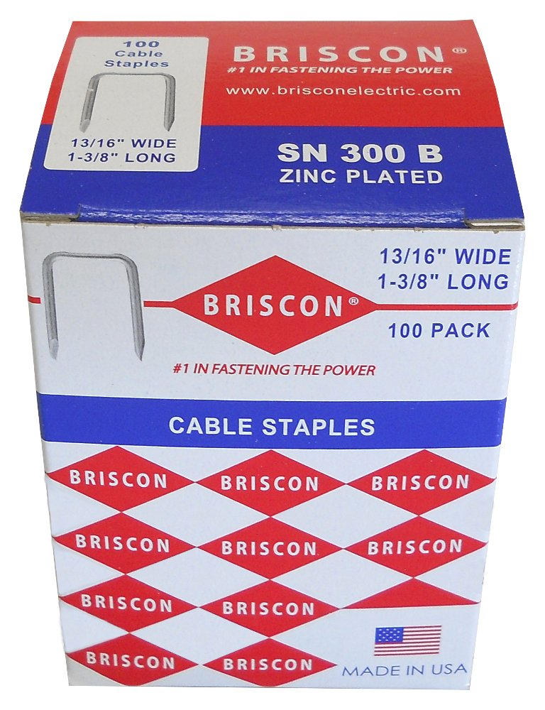 Briscon SN-300-B-100 Zinc Plated Low Carbon Steel Cable Staple 1-3/8 Inch Length x 13/16 Inch Width 100/Pack by BRISCON