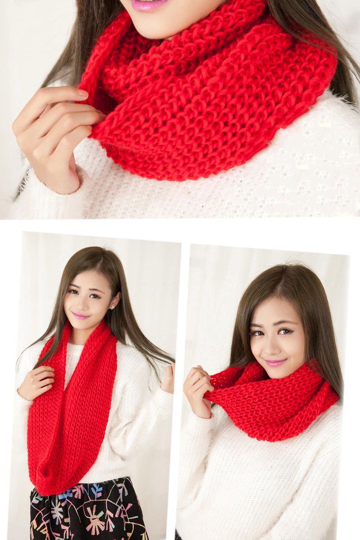Invierno caliente Lana de teje bufanda Infinity para mujeres chicas ... 5be125659a5