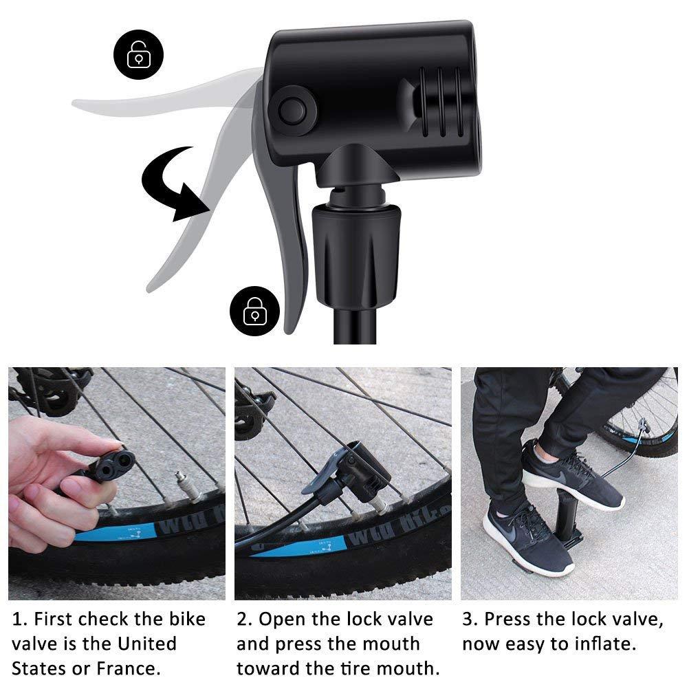 MUTANG Bomba de Bicicleta de Barril de Aleación de Aluminio Bomba de Bicicleta Portátil de pie Portátil Compatible con Válvulas Presta y Schrader Negro, ...